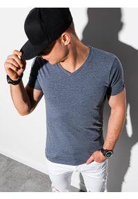 Ombre Clothing - T-shirt męski bawełniany basic S1369 - niebieski melanż - XXL. Kolor: niebieski. Materiał: bawełna. Wzór: melanż. Styl: klasyczny