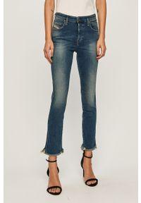 Niebieskie jeansy Diesel w kolorowe wzory