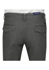 Chiao - Popielate Bawełniane Spodnie Męskie, CHINOSY, Kolorowe Wykończenia -CHIAO- Szare. Kolor: szary. Materiał: bawełna. Wzór: kolorowy