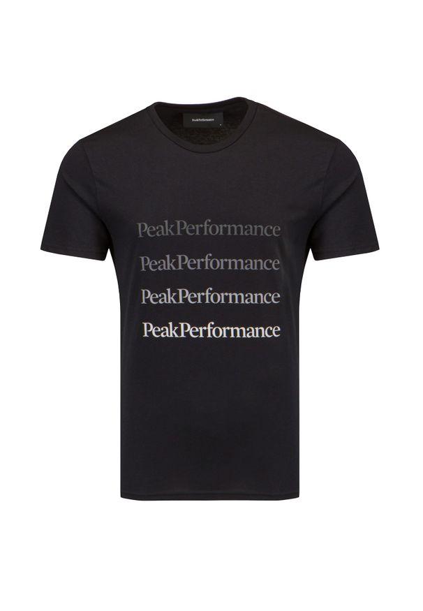 Peak Performance - T-shirt PEAK PERFORMANCE GROUND TEE. Materiał: bawełna, jersey, jeans. Wzór: napisy, gradientowy. Sezon: lato