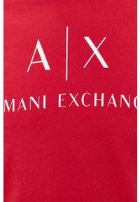 Armani Exchange - T-shirt bawełniany. Kolor: czerwony. Materiał: bawełna. Wzór: nadruk