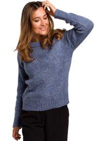 Niebieski sweter oversize MOE z klasycznym kołnierzykiem, klasyczny