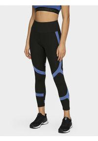 Czarne legginsy 4f z nadrukiem, z podwyższonym stanem