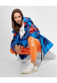 Ice Play - ICE PLAY - Pomarańczowe legginsy z logowaniem. Stan: podwyższony. Kolor: pomarańczowy. Materiał: tkanina. Styl: sportowy
