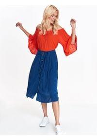 TROLL - Bluzka damska z odkrytymi ramionami. Typ kołnierza: dekolt hiszpanka. Kolor: czerwony. Materiał: tkanina. Sezon: zima, jesień. Styl: elegancki