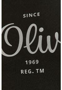 Czarny t-shirt s.Oliver gładki, na co dzień, casualowy