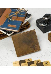 BUFFALO WILD - Skórzany męski portfel j. brązowy Buffalo Wild RM-01-HBW TAN. Kolor: brązowy. Materiał: skóra
