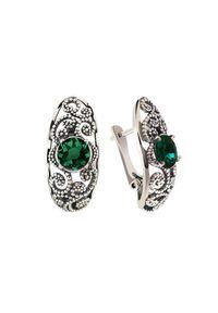 Polcarat Design - Srebrne kolczyki z kryształami Swarovski K3 2068. Materiał: srebrne. Kolor: srebrny. Kamień szlachetny: kryształ