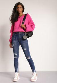 Renee - Niebieskie Jeansy Skinny Maliris. Kolor: niebieski. Długość: długie. Wzór: aplikacja. Styl: elegancki