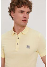Żółta koszulka polo BOSS casualowa, gładkie, na co dzień