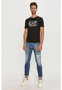 Czarny t-shirt EA7 Emporio Armani z nadrukiem, na co dzień, casualowy