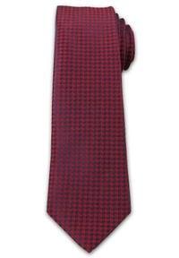 Wyrazisty Krawat Męski- Chattier- 6,7 cm - Oryginalny Wzór, Czerwono-Granatowy. Kolor: wielokolorowy, czerwony, niebieski. Materiał: tkanina. Styl: wizytowy, elegancki