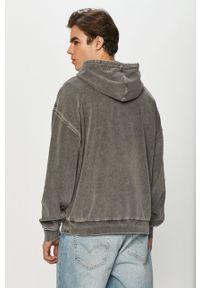 Szara bluza nierozpinana gładkie, z kapturem