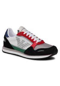 Emporio Armani - Sneakersy EMPORIO ARMANI - X4X537 XM678 N640 Navy/Grey/Red/O.Wht. Kolor: biały. Materiał: skóra ekologiczna, materiał, zamsz. Szerokość cholewki: normalna