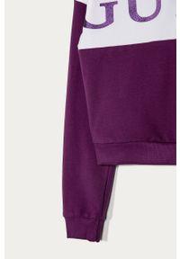 Fioletowa bluza Guess Jeans z nadrukiem, casualowa, na co dzień, z okrągłym kołnierzem