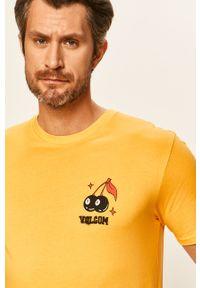 Żółty t-shirt Volcom z nadrukiem, na co dzień, casualowy
