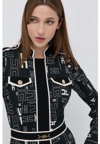 Elisabetta Franchi - Sukienka. Typ kołnierza: kołnierzyk stójkowy. Kolor: czarny. Materiał: tkanina. Długość rękawa: długi rękaw. Typ sukienki: dopasowane