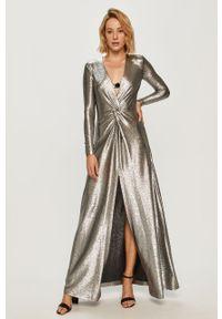 Srebrna sukienka Pinko z długim rękawem, rozkloszowana