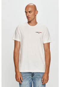 Biały t-shirt Tommy Jeans casualowy, z aplikacjami, z okrągłym kołnierzem