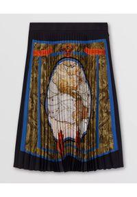 Burberry - BURBERRY - Plisowana spódnica z nadrukiem. Okazja: do pracy, na co dzień. Kolor: czarny. Materiał: jedwab, materiał. Wzór: nadruk. Styl: klasyczny, casual