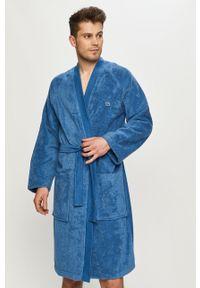 Niebieski szlafrok Lacoste gładki