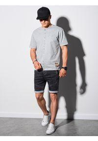 Ombre Clothing - T-shirt męski bawełniany S1379 - szary - XXL. Kolor: szary. Materiał: bawełna. Długość: krótkie. Wzór: geometria