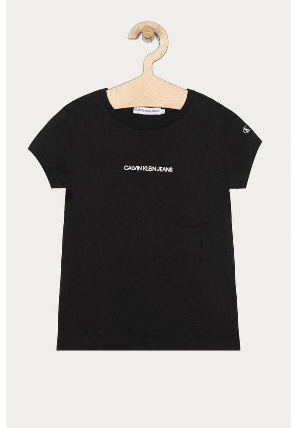Czarna bluzka z krótkim rękawem Calvin Klein Jeans z okrągłym kołnierzem, na co dzień, z nadrukiem, casualowa
