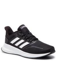 Adidas - Buty adidas - Runfalcon F36199 Cblack/Ftwwht/Cblack. Kolor: czarny. Materiał: materiał, skóra. Szerokość cholewki: normalna