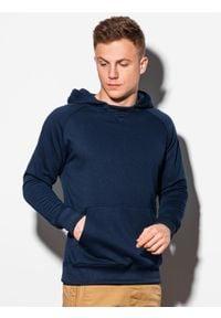 Ombre Clothing - Bluza męska z kapturem B1085 - granatowa - XXL. Typ kołnierza: kaptur. Kolor: niebieski. Materiał: poliester, bawełna #1