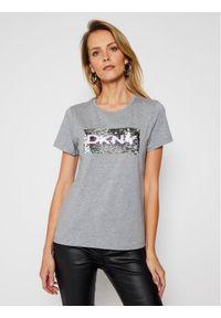 DKNY T-Shirt P0KWZDNA Szary Regular Fit. Kolor: szary