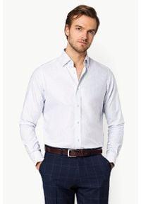 Lancerto - Koszula Biała z Nadrukiem Nancy. Kolor: biały. Materiał: bawełna, tkanina, jeans. Wzór: nadruk