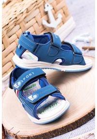 Casu - niebieskie sandały na rzepy casu f05. Zapięcie: rzepy. Kolor: niebieski
