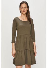 Haily's - Sukienka. Kolor: zielony. Materiał: dzianina. Długość rękawa: długi rękaw. Typ sukienki: rozkloszowane