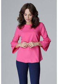 Katrus - Fuksja Elegancka Bluzka z Hiszpańskim rękawkiem ¾. Kolor: różowy. Materiał: wiskoza, poliester. Długość rękawa: krótki rękaw. Styl: elegancki