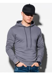 Szara bluza Ombre Clothing z nadrukiem, z kapturem