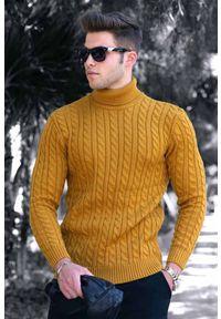 Żółty sweter IVET na jesień, z golfem