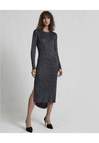 ONETEASPOON - Sukienka Superior. Kolor: szary. Materiał: bawełna, materiał. Długość rękawa: długi rękaw. Typ sukienki: dopasowane. Długość: midi