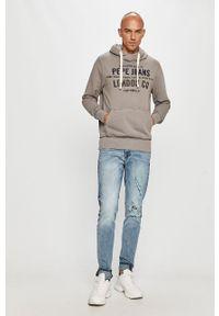 Szara bluza nierozpinana Pepe Jeans z kapturem, na co dzień, casualowa