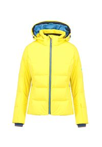 Żółta kurtka narciarska Descente w kolorowe wzory, Thinsulate, na zimę