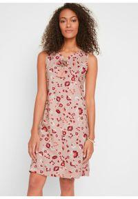 Sukienka shirtowa z nadrukiem, bez rękawów bonprix matowy beżowy. Kolor: beżowy. Długość rękawa: bez rękawów. Wzór: nadruk. Styl: elegancki