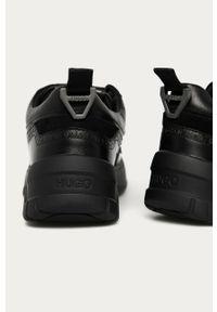 Czarne sneakersy Hugo na sznurówki, z cholewką, z okrągłym noskiem