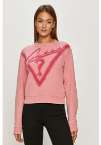 Różowa bluza Guess z nadrukiem, z długim rękawem, bez kaptura, na co dzień
