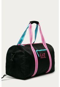 Czarna torba podróżna EA7 Emporio Armani z aplikacjami, casualowa