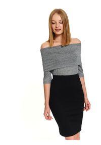 Szara bluzka TOP SECRET elegancka, w kolorowe wzory