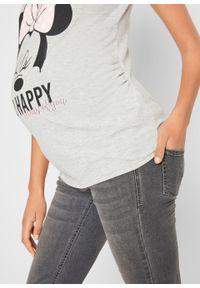 Shirt ciążowy z nadrukiem z disneyowskim motywem bonprix jasnoszary melanż. Kolekcja: moda ciążowa. Kolor: szary. Wzór: melanż, nadruk