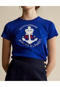 Ralph Lauren - RALPH LAUREN - Niebieska koszulka z aplikacją. Okazja: na co dzień. Typ kołnierza: polo. Kolor: niebieski. Materiał: guma, bawełna. Wzór: aplikacja. Sezon: wiosna. Styl: elegancki, casual