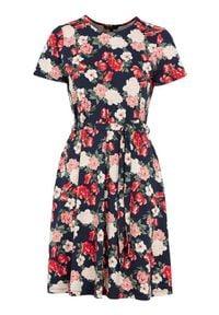 Happy Holly Sukienka w kwiaty Tova granatowy we wzory female niebieski/ze wzorem 48/50. Kolor: niebieski. Materiał: dzianina, jersey. Wzór: kwiaty