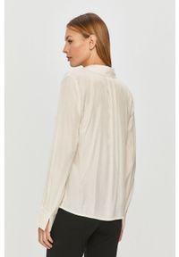 Kremowa bluzka Vila z długim rękawem, casualowa, długa, na co dzień