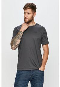 Szary t-shirt Jack Wolfskin z okrągłym kołnierzem, na co dzień, casualowy