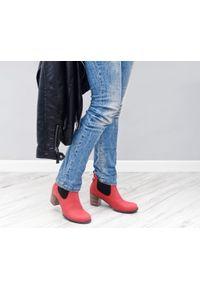 Czerwone botki Zapato wąskie, na zimę, w kolorowe wzory